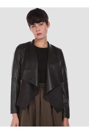 Ralph Lauren U S Polo Assn Women Black Colourblocked Longline Open Front Jacket