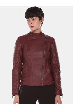 Ralph Lauren U S Polo Assn Women Maroon Solid Biker Jacket