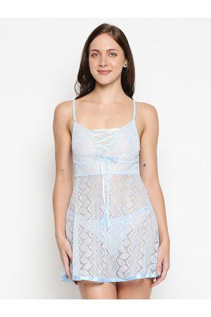 XIN Women Light Blue Net Printed Baby Doll