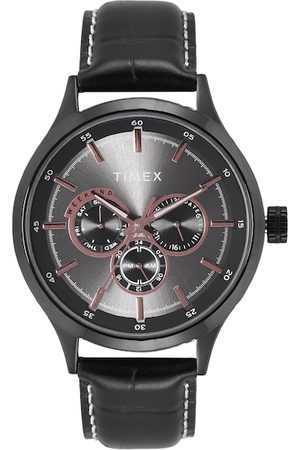 Timex Men Black Leather Straps Analogue Watch TW000T313