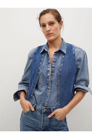 MANGO Women Blue Denim Pure Cotton Sustainable Waistcoat