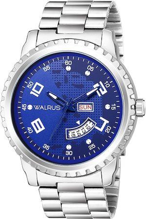 WALRUS Men Blue Brass Dial & Silver Toned Straps Analogue Watch