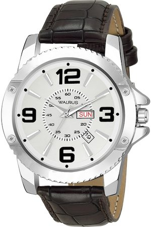WALRUS Men Silver-Toned Brass Printed Dial & Brown Straps Analogue Watch