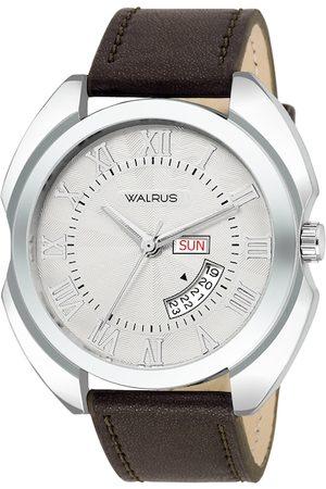 WALRUS Men White Brass Dial & Brown Straps Analogue Watch