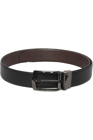LOUIS STITCH Men Black & Coffee Brown Textured Leather Reversible Formal Belt