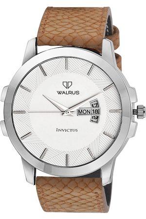 WALRUS Men White Brass Dial & Beige Straps Analogue Watch