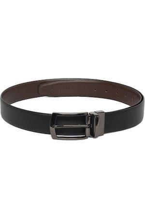 LOUIS STITCH Men Black & Coffee Brown Saffiano Textured Leather Reversible Formal Belt