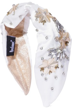 Anekaant Women White & Gold-Toned Floral Embellished Satin Hairband