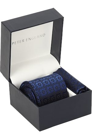 Peter England Men Blue Printed Accessory Gift Set