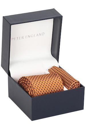 Peter England Men Orange & Black Printed Accessory Gift Set