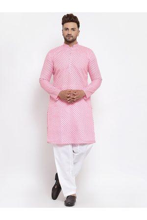 MAXENCE Men Pink Ethnic Motifs Printed Pure Silk Kurta with Pyjamas