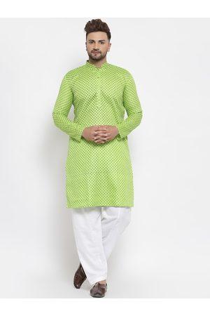 MAXENCE Men Green Angrakha Linen Kurta with Pyjamas