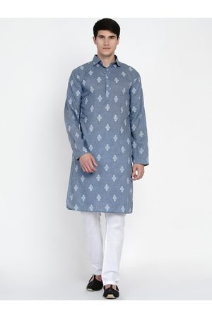 Baawara By Bhama Men Blue Embroidered Angrakha Pure Cotton Kurti with Pyjamas