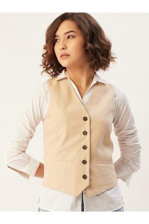 MANGO Women Beige Solid Sustainable Waistcoat