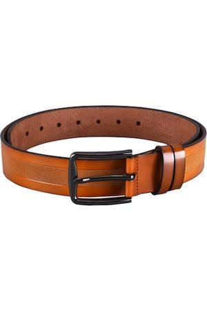 BuckleUp Men Tan Textured Leather Formal Belt
