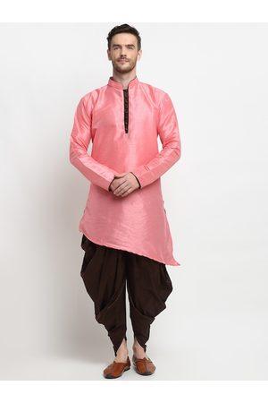 Benstoke Men Pink Embroidered Empire Dupion Silk Kurti with Dhoti Pants