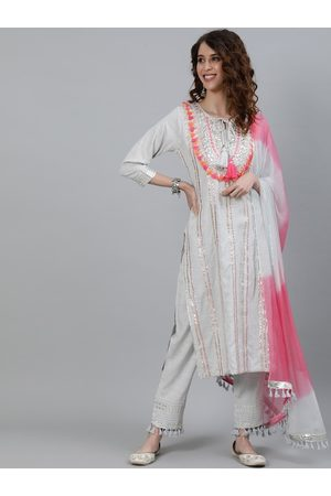 Ishin Women Grey Floral Embroidered Pleated Kurti with Salwar & With Dupatta