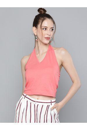 Sassafras Women Peach-Coloured Halter Neck Cotton Regular Crop Top
