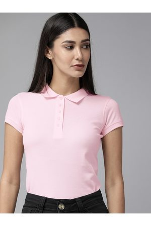 Park Avenue Women Pink Solid Polo Collar T-shirt
