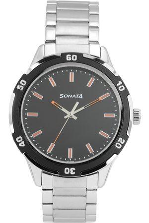 Sonata Men Black Solid Analogue Watch NN7138KM01