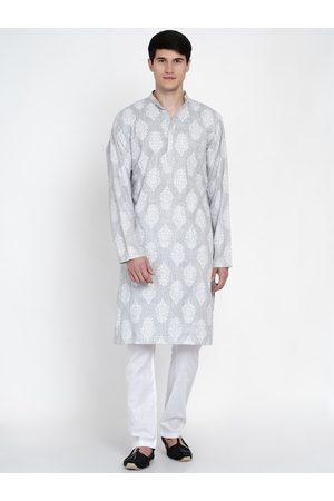 Baawara By Bhama Men Grey Ethnic Motifs Printed Pure Cotton Kurta with Pyjamas