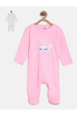 MINI KLUB Infant Girls Pack Of 2 Pink & Off-White Pure Cotton Sleepsuits