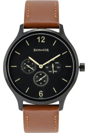Sonata Men Charcoal Grey Dial & Brown Straps Analogue Watch 7140NL01