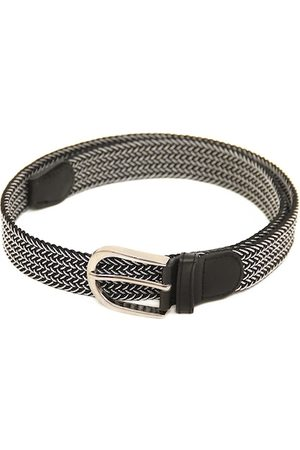 Calvadoss Men Black Braided Stretchable Belt
