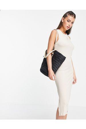 VERO MODA Aware sleeveless twist back midi dress in beige