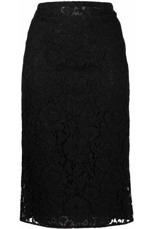 VALENTINO Lace-overlay mid-length skirt