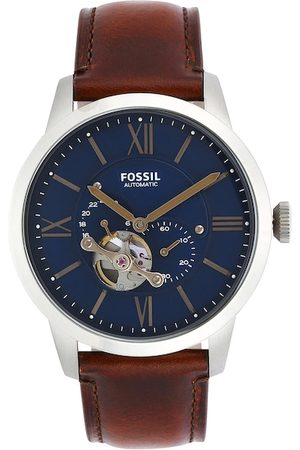 Fossil Men Blue Dial & Brown Leather Analogue Watch ME3098