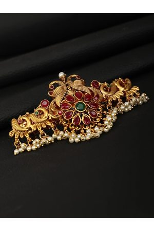 Priyaasi Women Gold & Maroon Hair Accessory Set of Hair Accessories