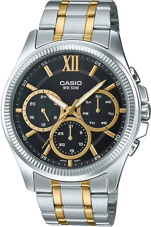 Casio Men Black Patterned Dial & Silver Toned Bracelet Style Straps Analogue Watch A1775
