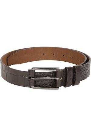 DUCATI Men Brown Textured Leather Belt