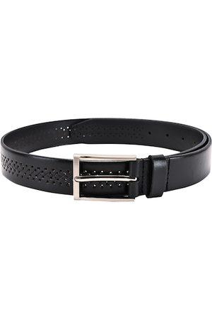 BuckleUp Men Black Textured Leather Formal Belt