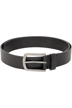 DUCATI Men Black Textured Leather Belt