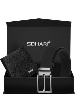 Scharf Men Black Solid Genuine Leather Accessory Gift Set