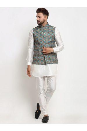 Benstoke Men Pyjamas - Men White Ethnic Motifs Printed Layered Dupion Silk Kurti with Pyjamas