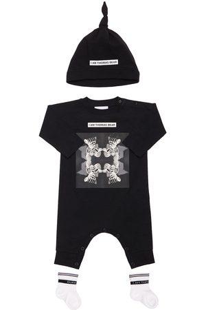 Burberry Bear Print Cotton Romper, Hat & Socks