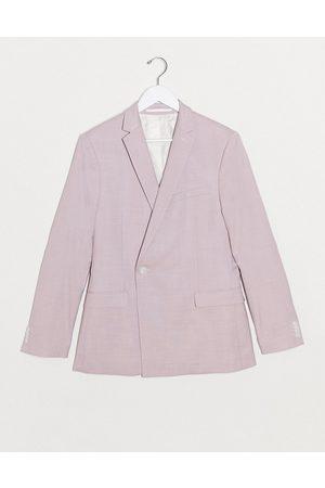 Topman Men Blazers - Super skinny double breasted suit jacket in lilac