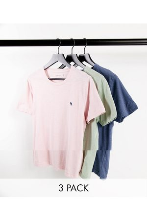 Abercrombie & Fitch 3 pack icon logo t-shirt in pink/green/blue