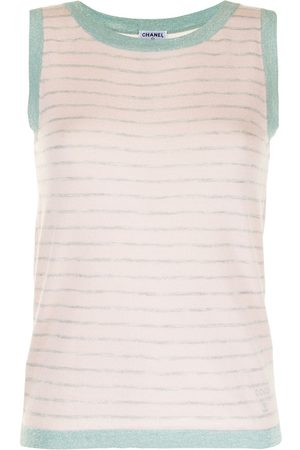 CHANEL Women Tank Tops - 2009 striped sleeveless knitted top