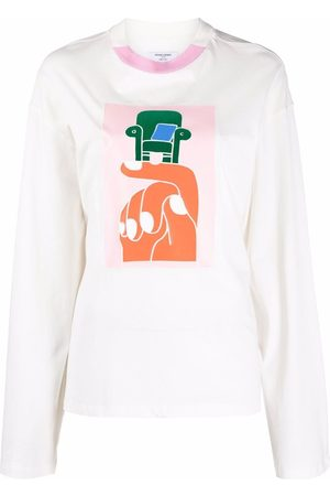 Opening Ceremony Women Long Sleeve - Hand chair print long sleeve T-shirt