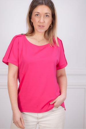 Marc Cain Plain Tee with Button Shoulder in Fuschia