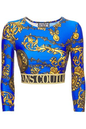 VERSACE JEANS COUTURE Baroque Print Jersey Cropped Top