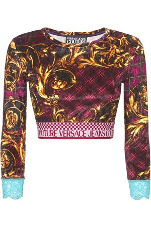 VERSACE JEANS COUTURE Printed Velvet Crop Top W/logo Band