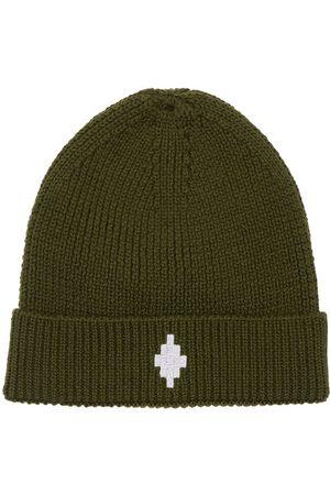 MARCELO BURLON Embroidered Wool Blend Beanie Hat