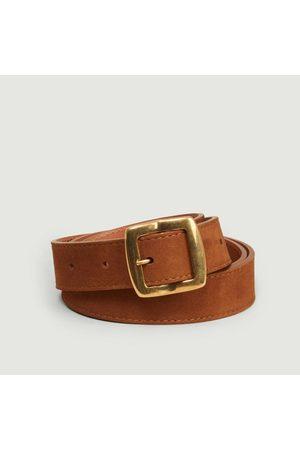 Maison Boinet Nubuck leather belt 25 mm havane