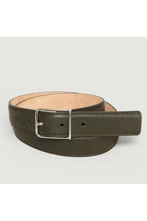 MAISON BOINET Leather Belt Dark Kaki