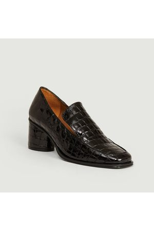 Anne Thomas Chaussures Simon croco effect leather heeled loafers Louisiana